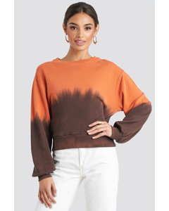 Tie Dye Oversized Cropped Sweatshirt Orange