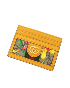 Gucci Gg Flora Ophidia Card Holder Brown