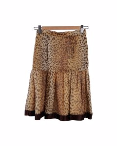 Valentino Boutique Vintage Animal Print Silky Peplum Skirt A Line Size 6