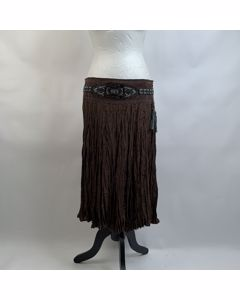 Class Roberto Cavalli Vintage Brown Silk Skirt With Beads Size 42