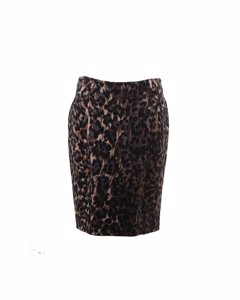 Blumarine Leopard Stretch Wool Pencil Skirt Bodycon Size 44 It