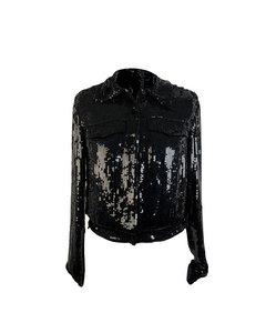 Blumarine Black Allover Sequin Jacket Jeans Style Size S