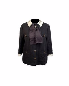 Gucci Black Linen Jacket With Contrast Silk Collar Size 42 It