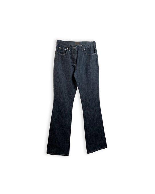 Fendi Fendi Blue Denim Five Pockets Jeans Pants Leather Pockets Size 26