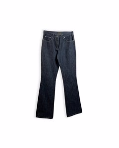 Fendi Blue Denim Five Pockets Jeans Pants Leather Pockets Size 26