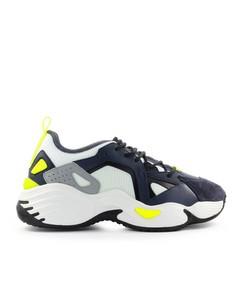 Emporio Armani Marineblauw Wit Suede Mesh Chunky Sneaker