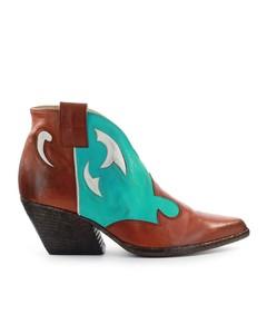 Elena Iachi Leather Turquoise Texan Style Bootie
