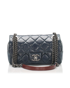 Chanel Mini Matelasse Leather Flap Shoulder Bag Blue