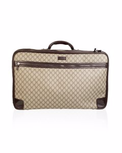 Gucci Brown Monogram Canvas Web Suitcase Travel Bag