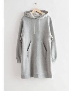 Relaxed Drawstring Hoodie Mini Dress Grey Melange