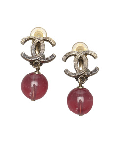 Chanel Cc Drop Earrings Gold