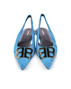 Balenciaga Bb Slingback Velvet Ballerina Flats Blue
