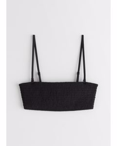 Smocked Bandeau Bikini Top Black