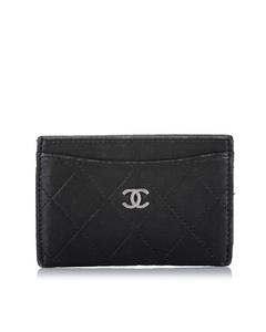 Chanel Cc Matelasse Lambskin Leather Card Holder Black