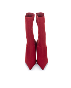 Balenciaga Knife Bootie Jersey Crepe Boots Red