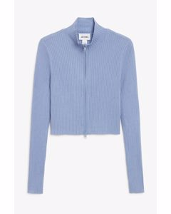 Ribbed Knit Zip Cardigan Blue