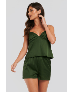 Satin Shorts Pyjamas Green