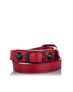 Balenciaga Classic Arena Wrap Leather Bracelet Red