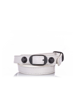 Balenciaga Classic Arena Wrap Leather Bracelet White
