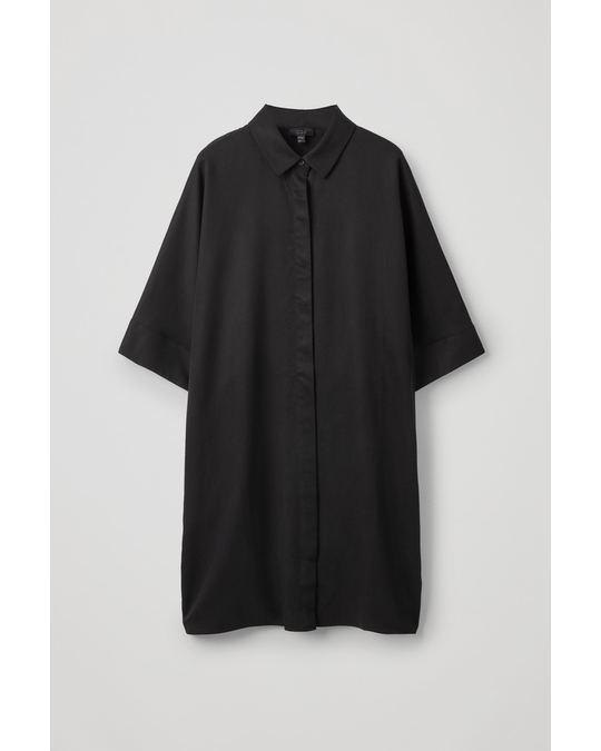 COS DRAPED BOXY SHIRT DRESS Black