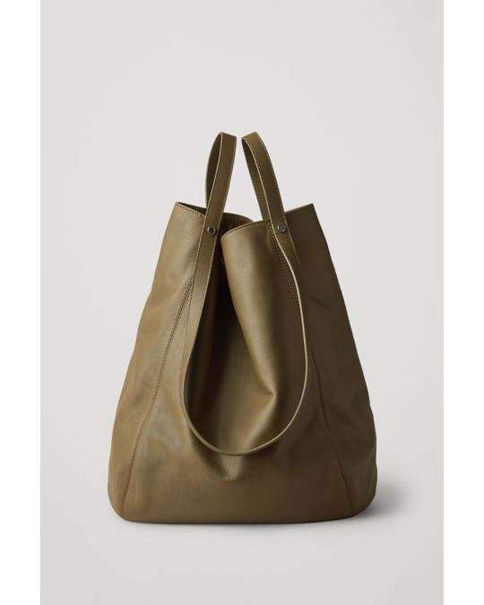 COS Leather Tote Rich Olive Green