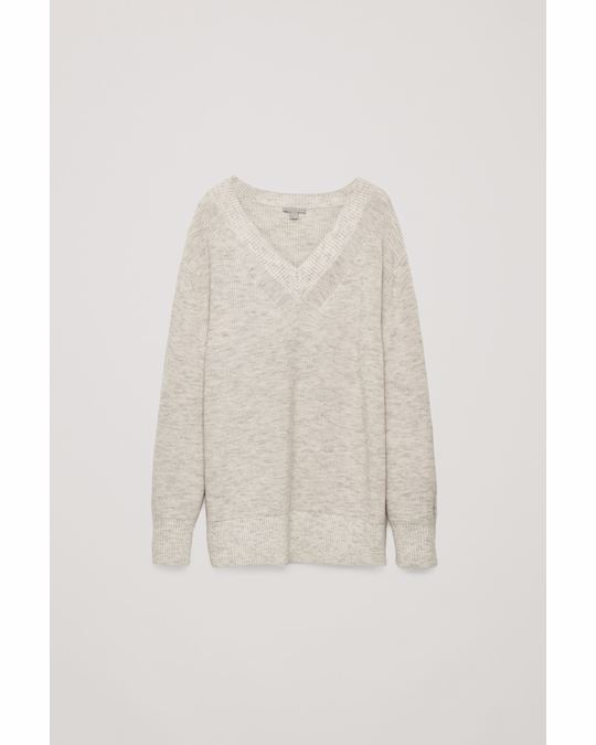 COS Deep V-Neck Knitted Jumper Oatmeal