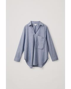 OVERSIZED A-LINE COTTON SHIRT blue
