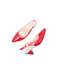 Evelyn The Slingback Red Leather