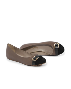 Asta - The Classy Ballerina Taupe/black Leather/suede