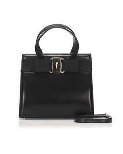 Ferragamo Vara Leather Satchel Black