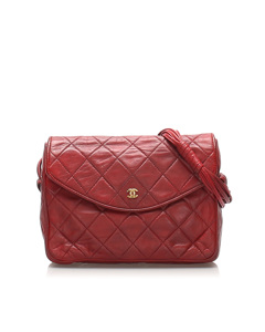 Chanel Matelasse Lambskin Leather Shoulder Bag Red