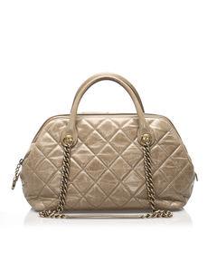 Chanel Matelasse Lambskin Leather Satchel Brown
