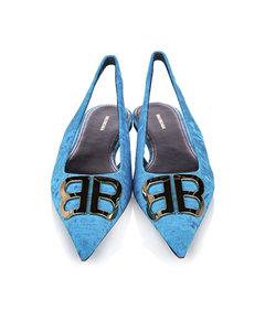 Balenciaga Bb Slingback Velour Flats Blue