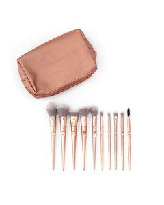 Rose Gold Holographic Makeup Bag + 10 Rose Gold Ergonomic Brushes 10-rg-bag Pink