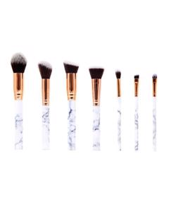 7 Piece Marble Effect Make Up Brush Set With Vegan Leather Pouch 7-marble-w White