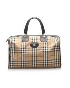 Burberry Haymarket Check Canvas Travel Bag Brown