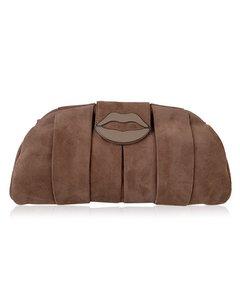 Yves Saint Laurent Pink Suede Lips Clutch Evening Bag Tom Ford Era