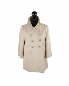 Chloe Ivory Quilted Leather Double Breasted Coat Jacket Size 40 It