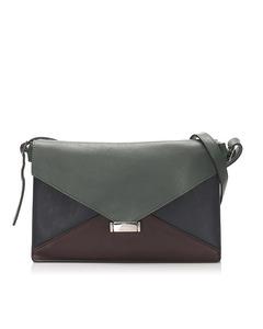 Celine Diamond Leather Shoulder Bag Green