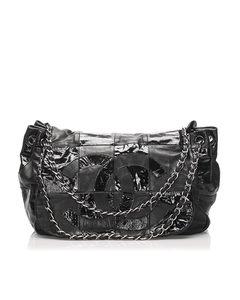 Chanel Accordion Cc Brooklyn Leather Flap Bag Black