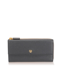 Mcm Ivana Bloom Leather Wallet Black