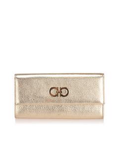 Ferragamo Gancini Leather Long Wallet Gold