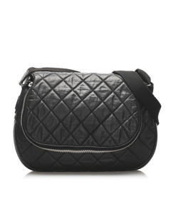 Chanel Matelasse Lambskin Leather Crossbody Bag Black