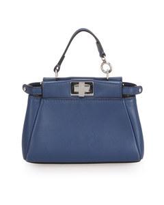 Fendi Micro Peekaboo Leather Crossbody Bag Blue