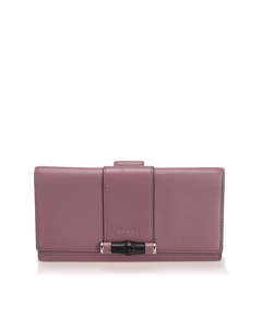 Gucci Bamboo Leather Long Wallet Purple