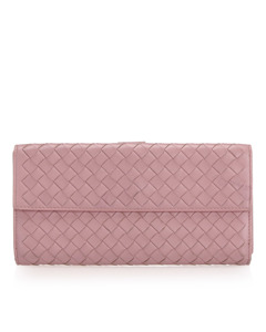 Bottega Veneta Intrecciato Leather Long Wallet Pink