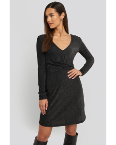 Glittery V-neck Dress Black Black