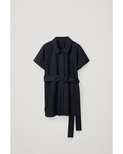 Woven-Jersey Belted Shirt Navy