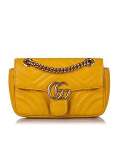 Gucci Mini Gg Marmont Leather Crossbody Bag Yellow
