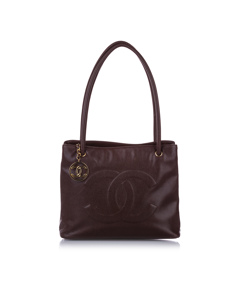 Chanel Cc Caviar Leather Shoulder Bag Brown